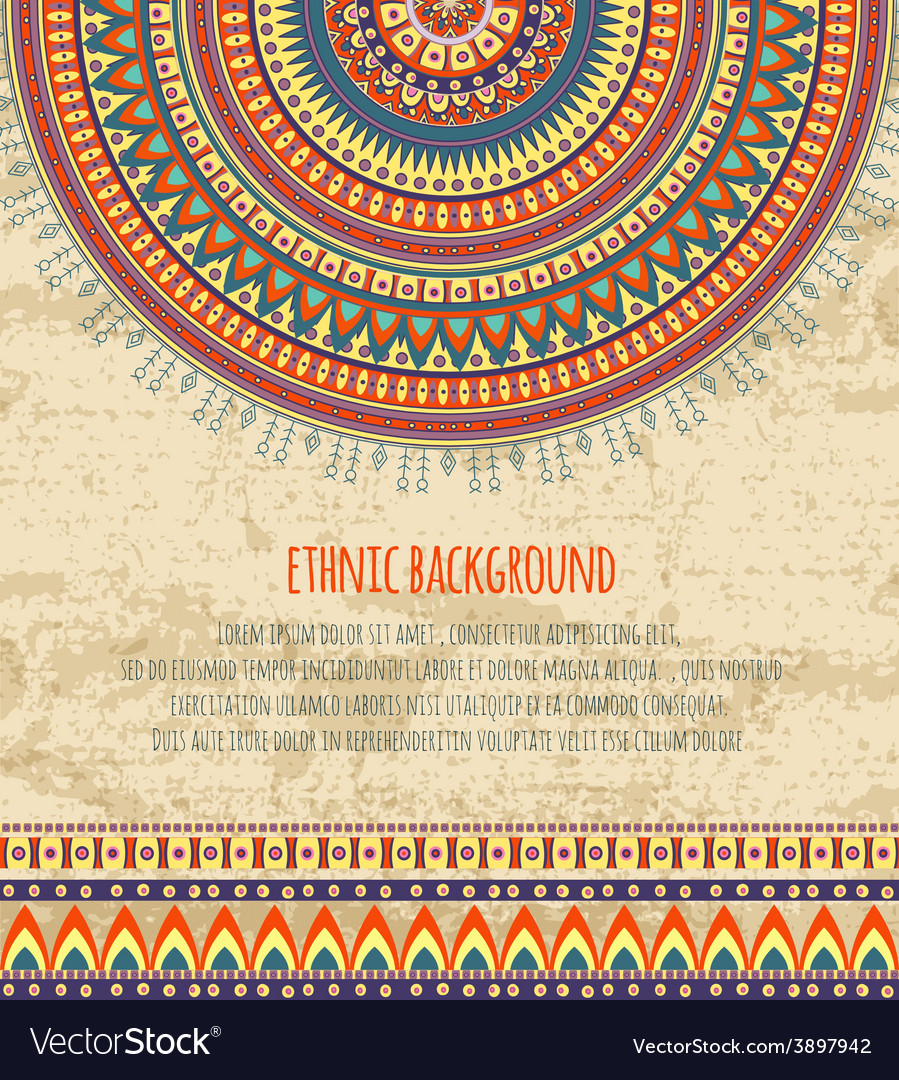 Ethnic ornament and texts for background design vector | Price: 1 Credit (USD $1)