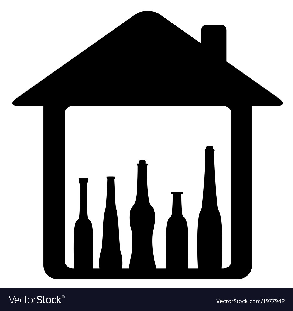 Icon with bottle in home vector | Price: 1 Credit (USD $1)