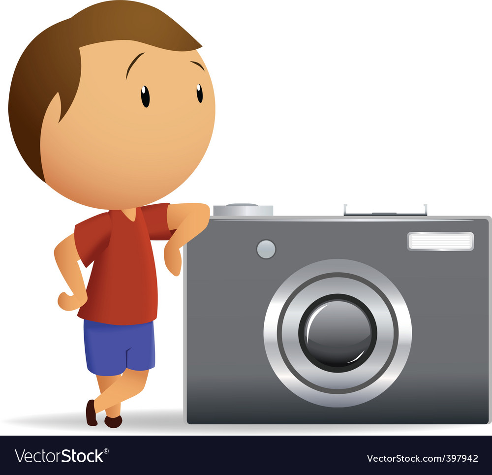 Little men with big camera vector | Price: 1 Credit (USD $1)