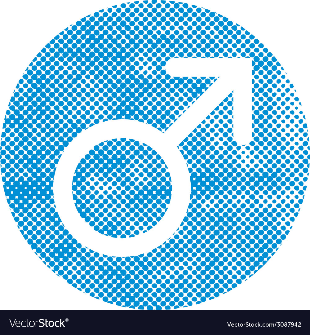 Male symbol mars icon with pixel print halftone vector | Price: 1 Credit (USD $1)