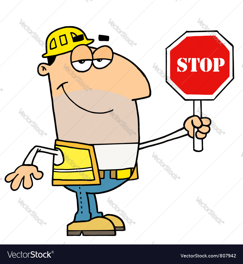 Male traffic director holding a stop sign vector | Price: 1 Credit (USD $1)