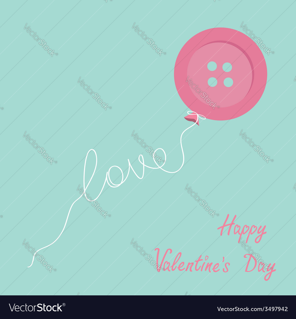 Pink button balloon love thread card flat design vector | Price: 1 Credit (USD $1)