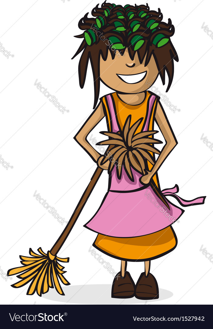 Profession housewife woman cartoon figure vector | Price: 1 Credit (USD $1)