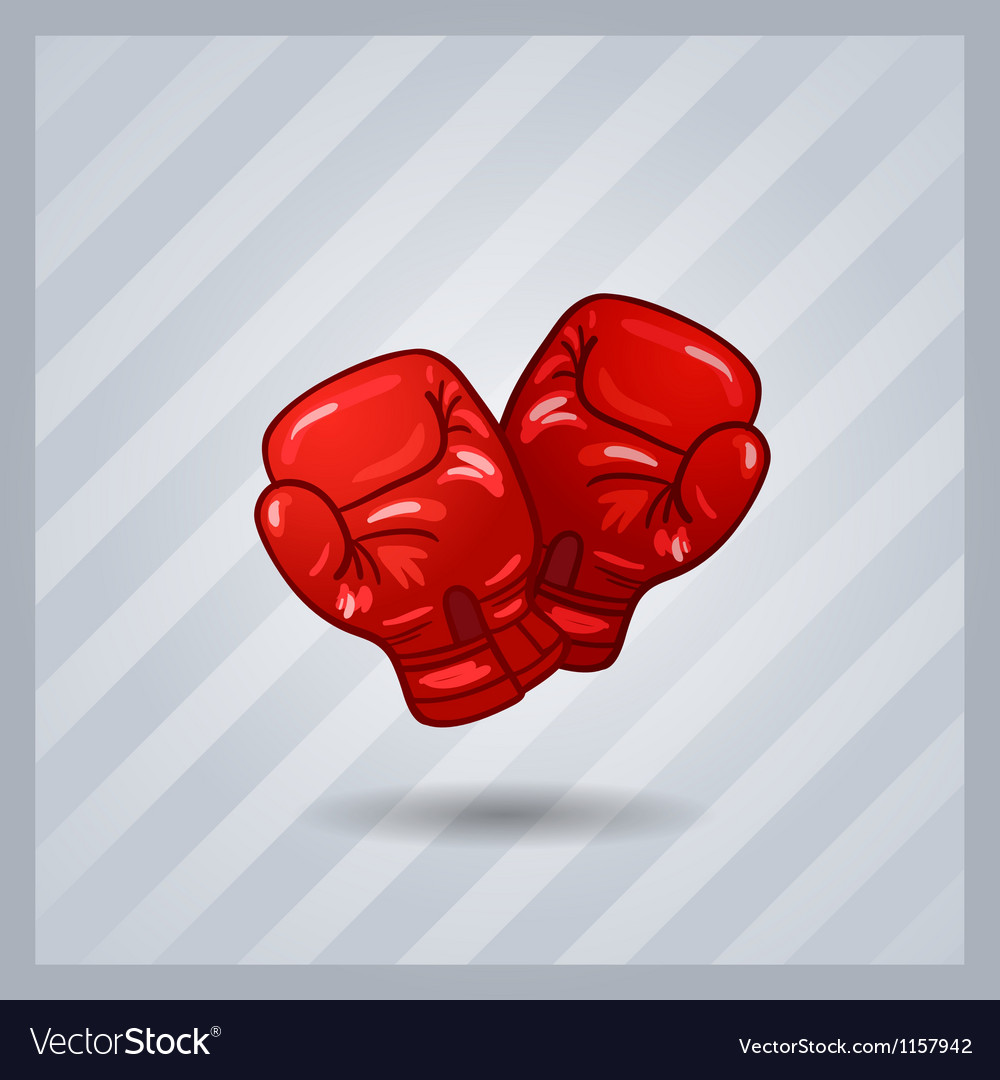 Red boxing gloves isolated sport item vector | Price: 1 Credit (USD $1)