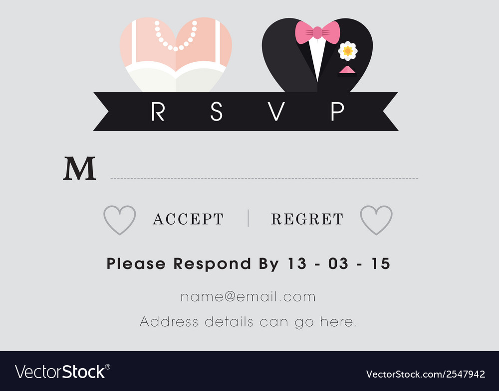 Rsvp wedding card heart theme vector | Price: 1 Credit (USD $1)