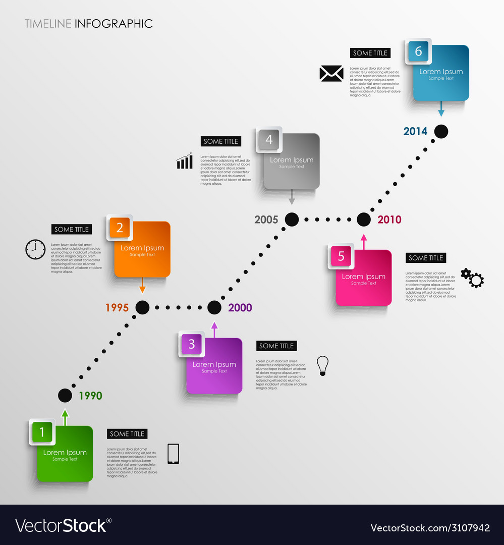 Time line info graphic colored square template vector | Price: 1 Credit (USD $1)