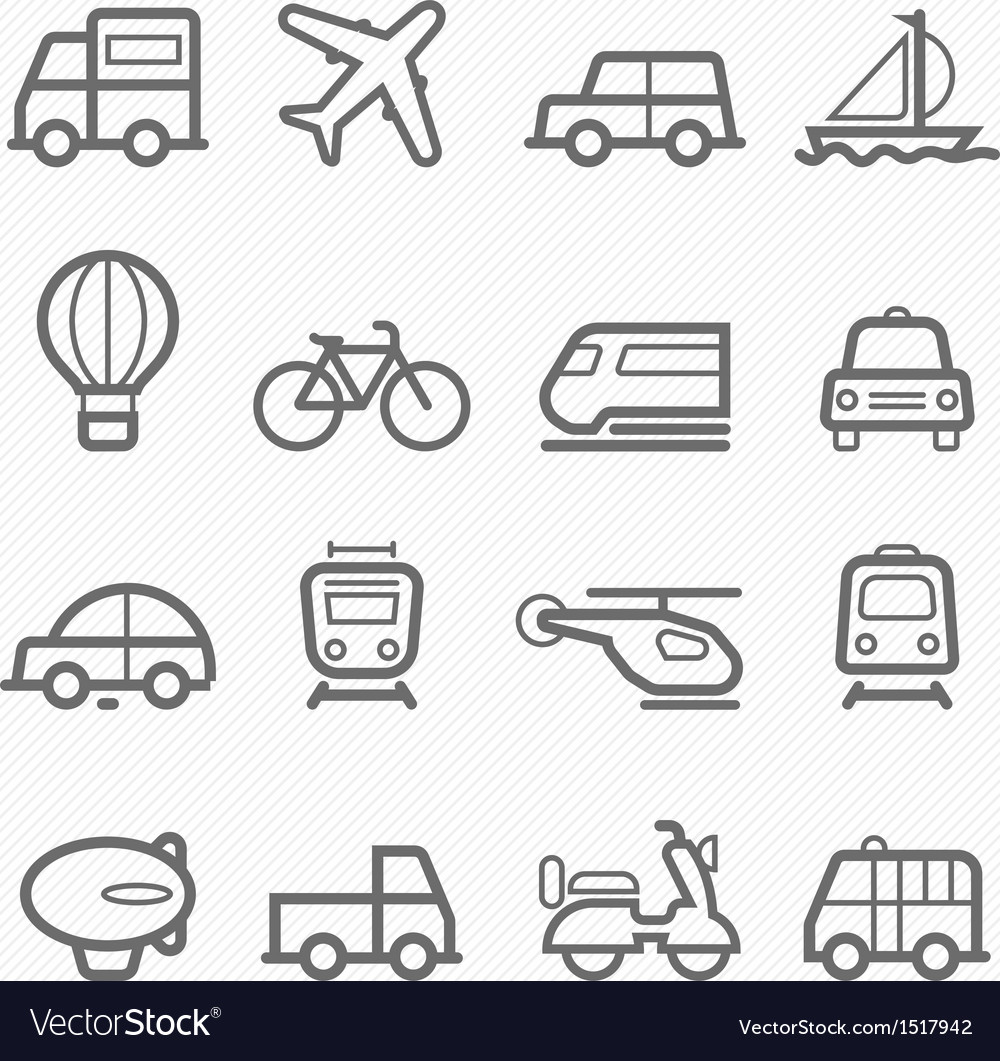 Transportation symbol line icon set vector