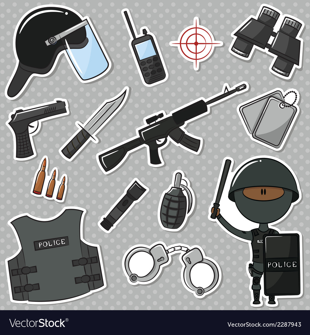 African-american special police officer vector | Price: 1 Credit (USD $1)