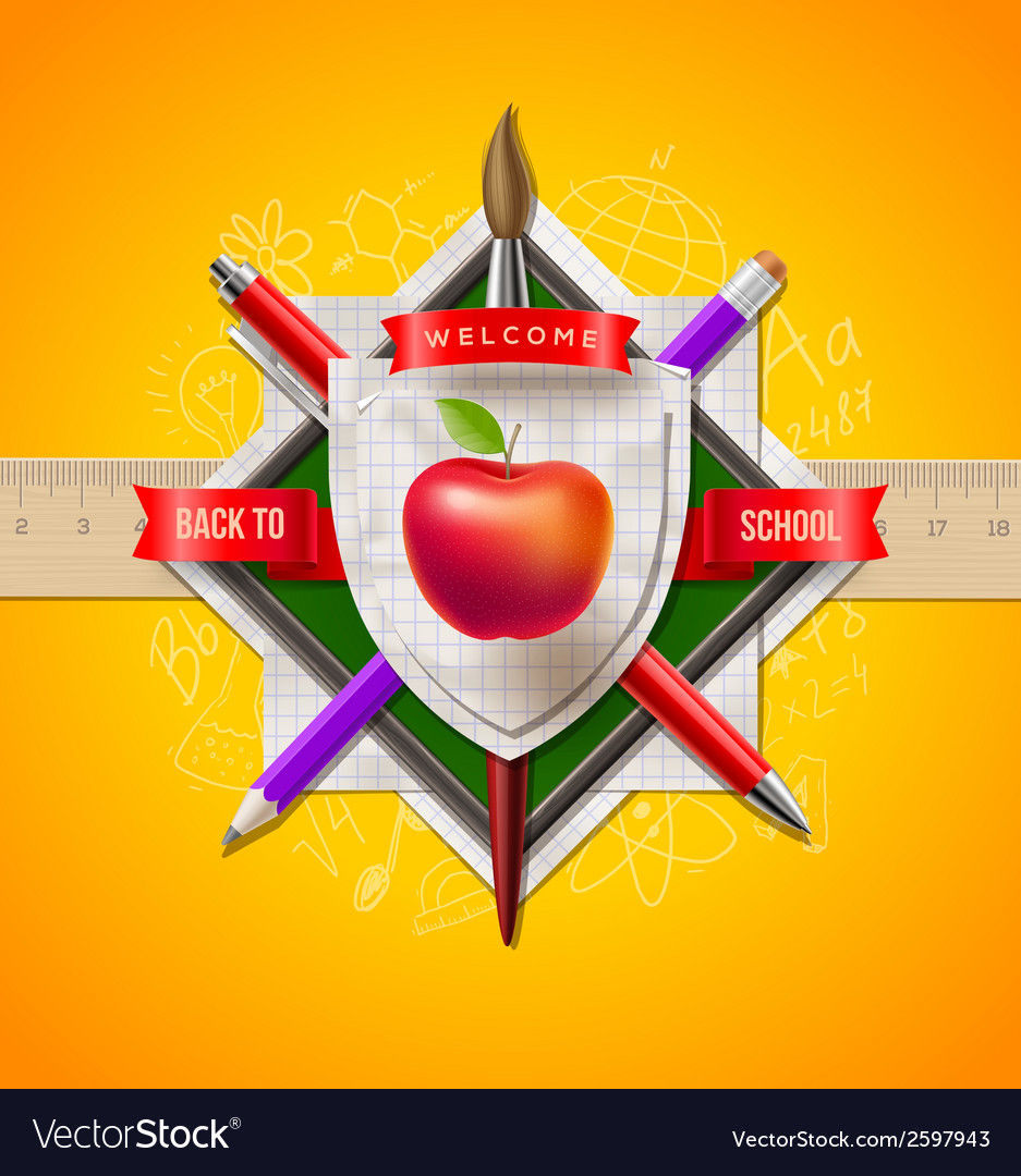 Back to school coat of arms vector | Price: 1 Credit (USD $1)