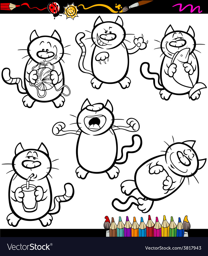 Cats set cartoon coloring book vector | Price: 1 Credit (USD $1)