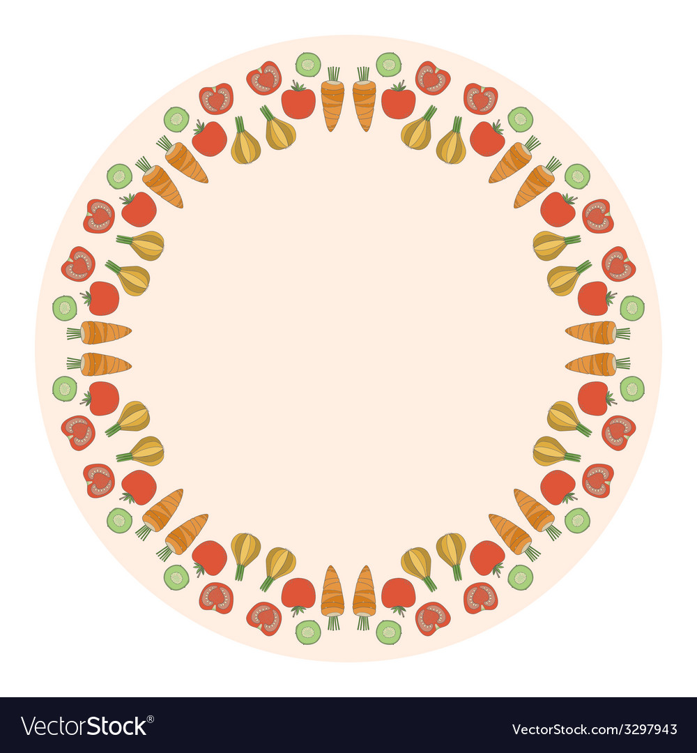 Decorative round vegetables frame on the backgroun vector | Price: 1 Credit (USD $1)