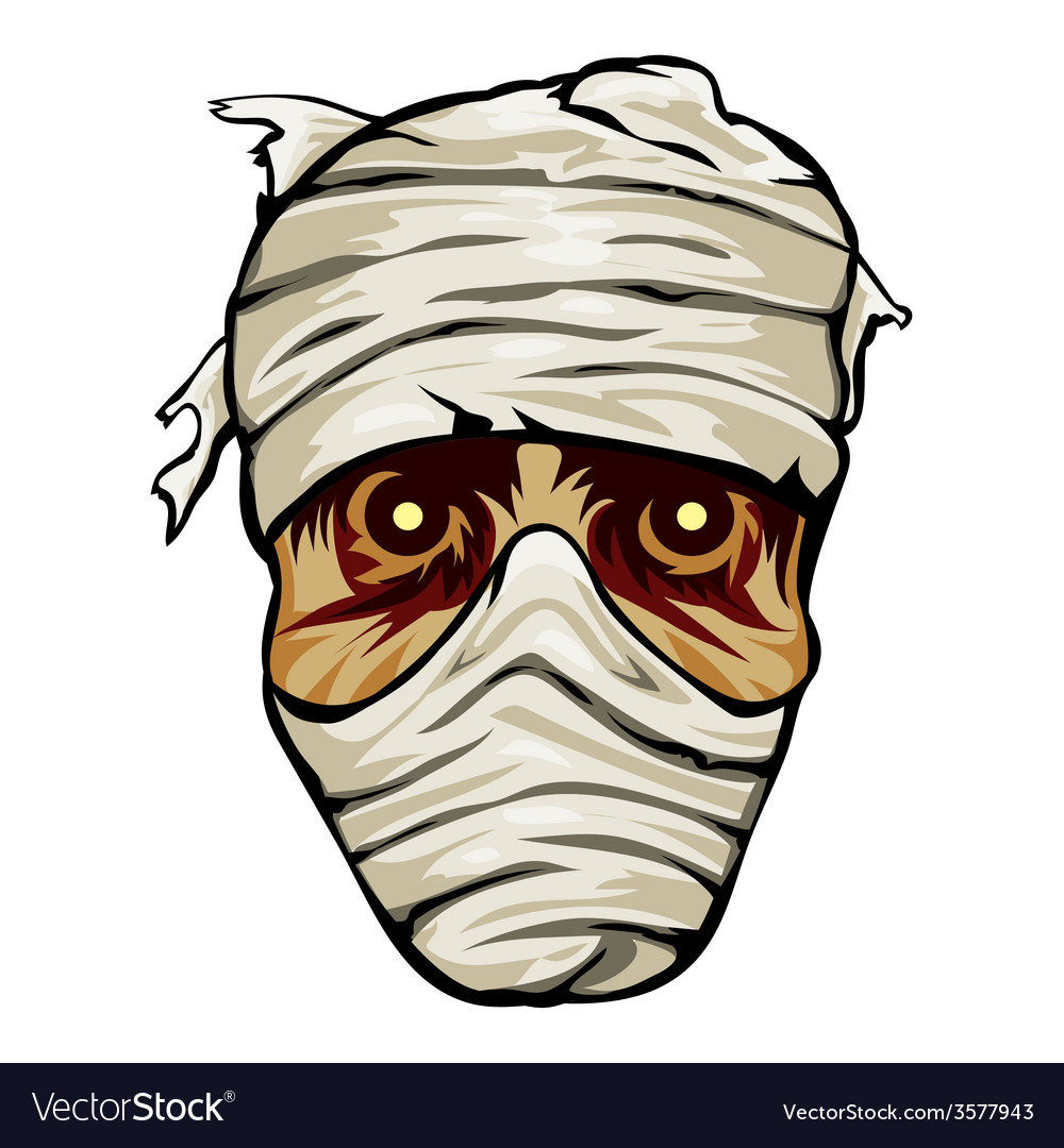 Ghoulish face of a mummy wrapped in bandages vector | Price: 3 Credit (USD $3)