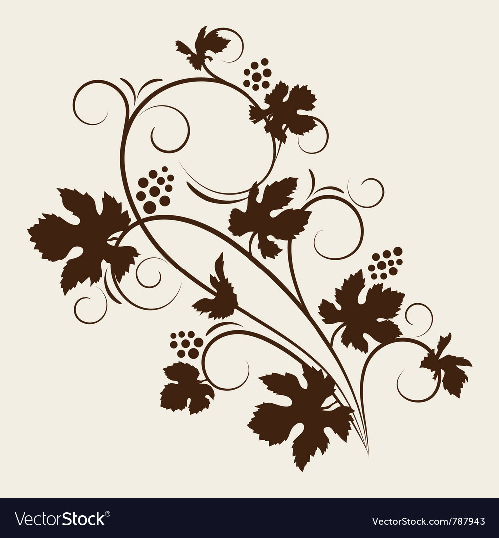 Grape vine silhouette vector | Price: 1 Credit (USD $1)