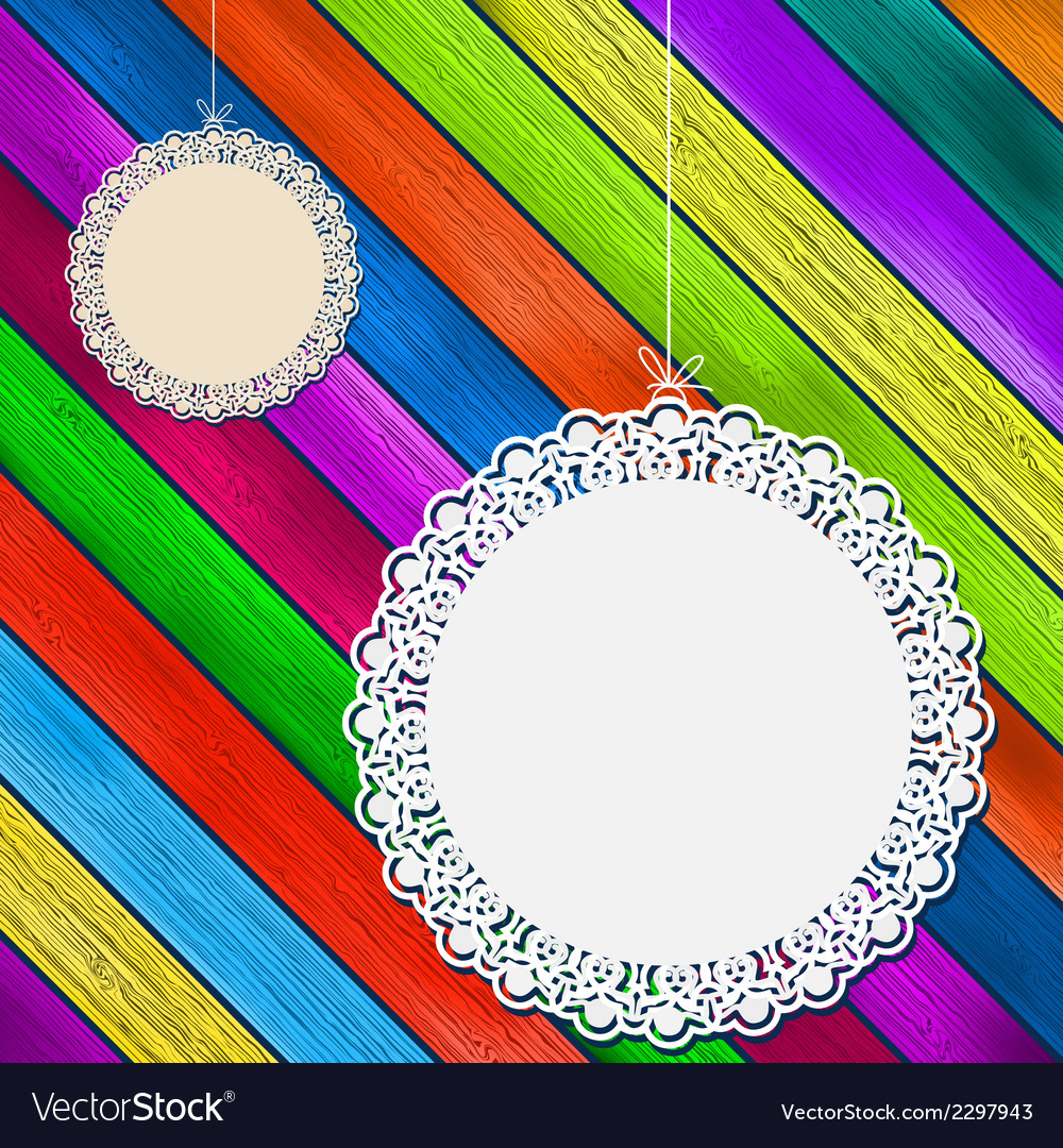 Lace frame on colorful wooden background  eps8 vector | Price: 1 Credit (USD $1)
