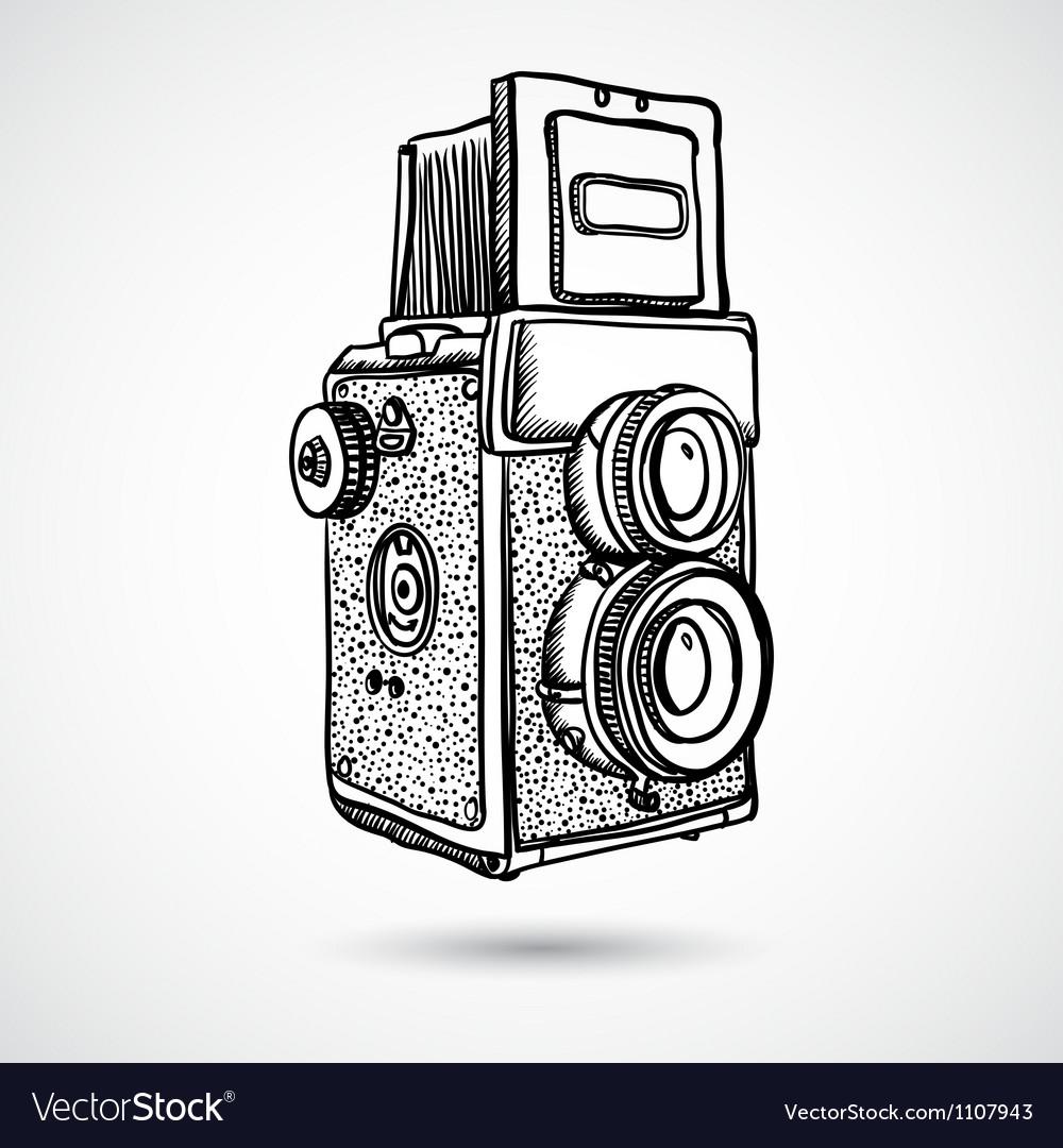 Vintage doodle camera hand-drawn vector | Price: 1 Credit (USD $1)