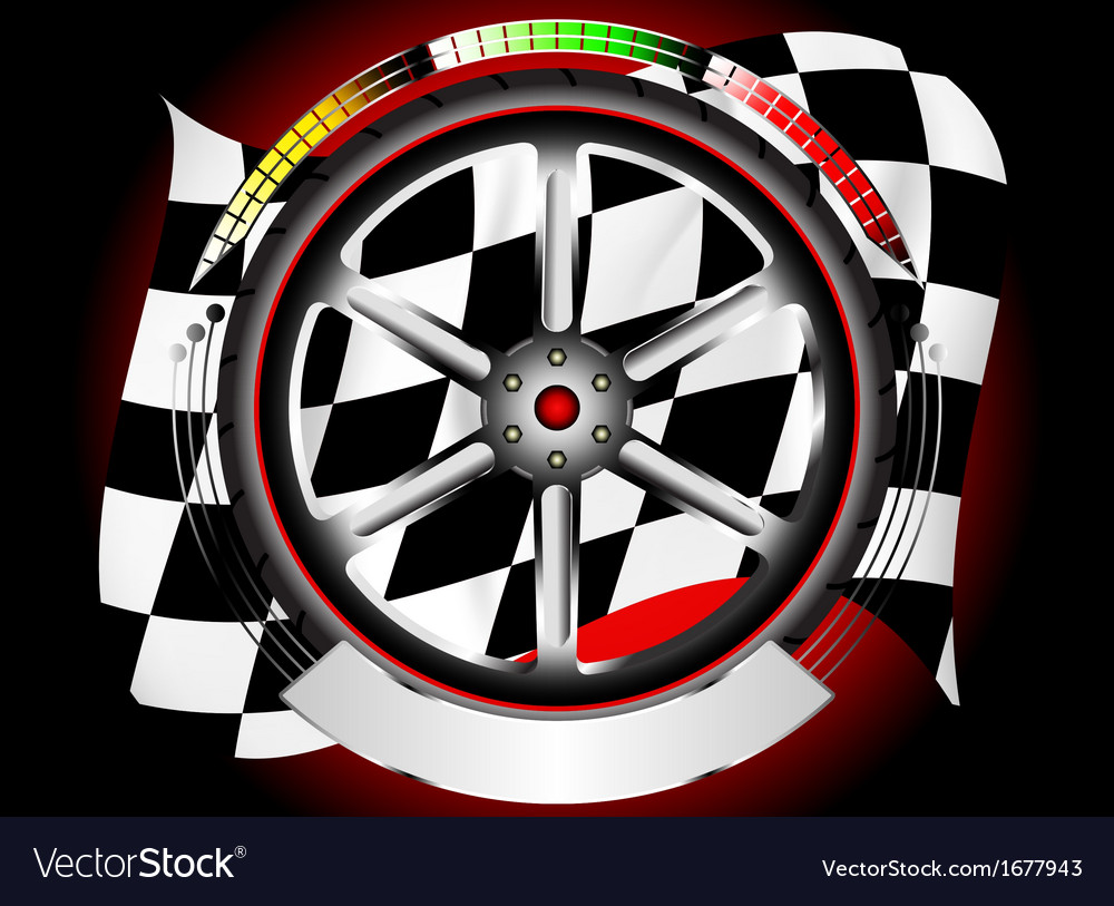 Wheel alloy emblem with race flag vector | Price: 1 Credit (USD $1)