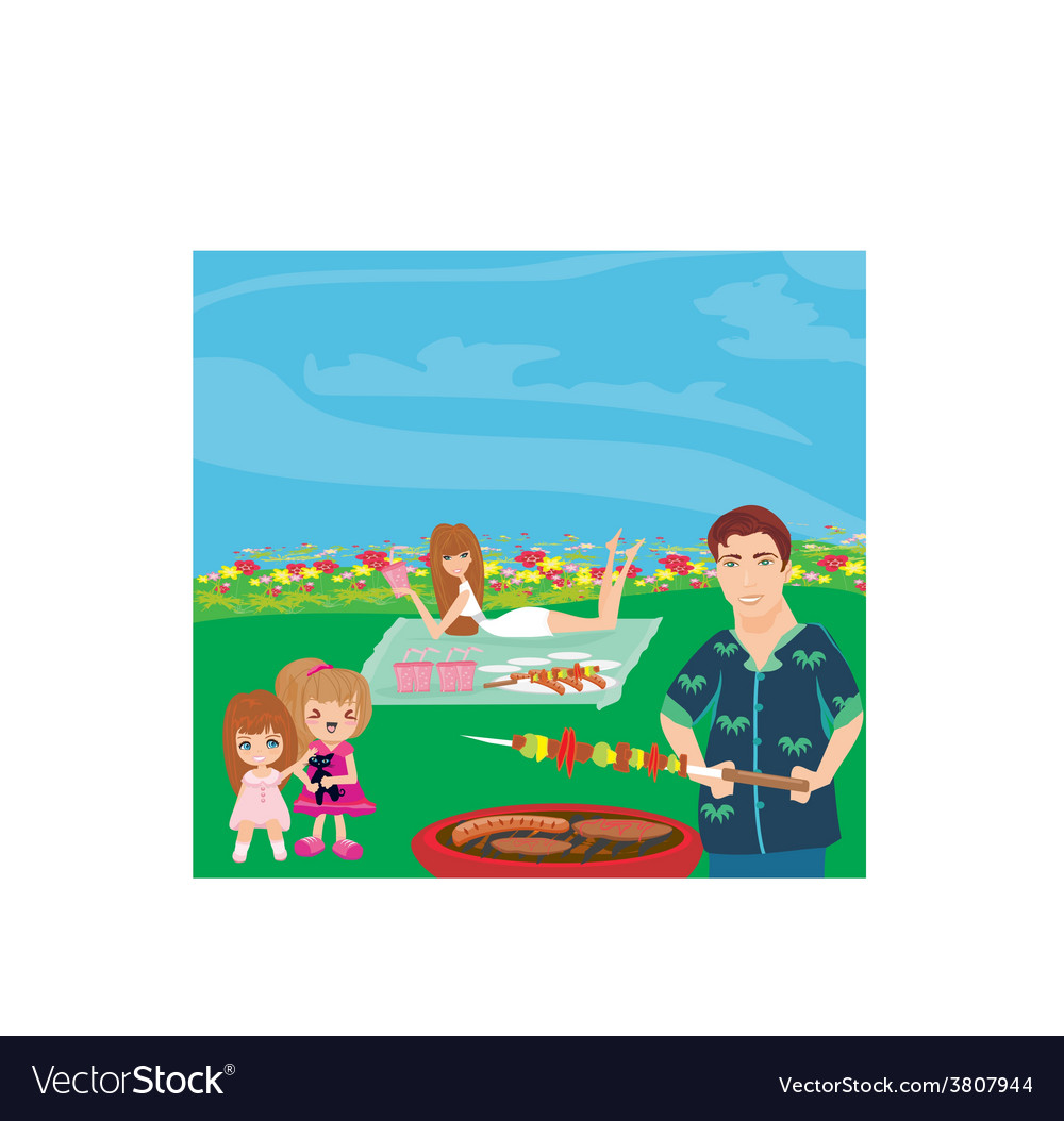 A of a family having a picnic in a park vector   Price: 1 Credit (USD $1)