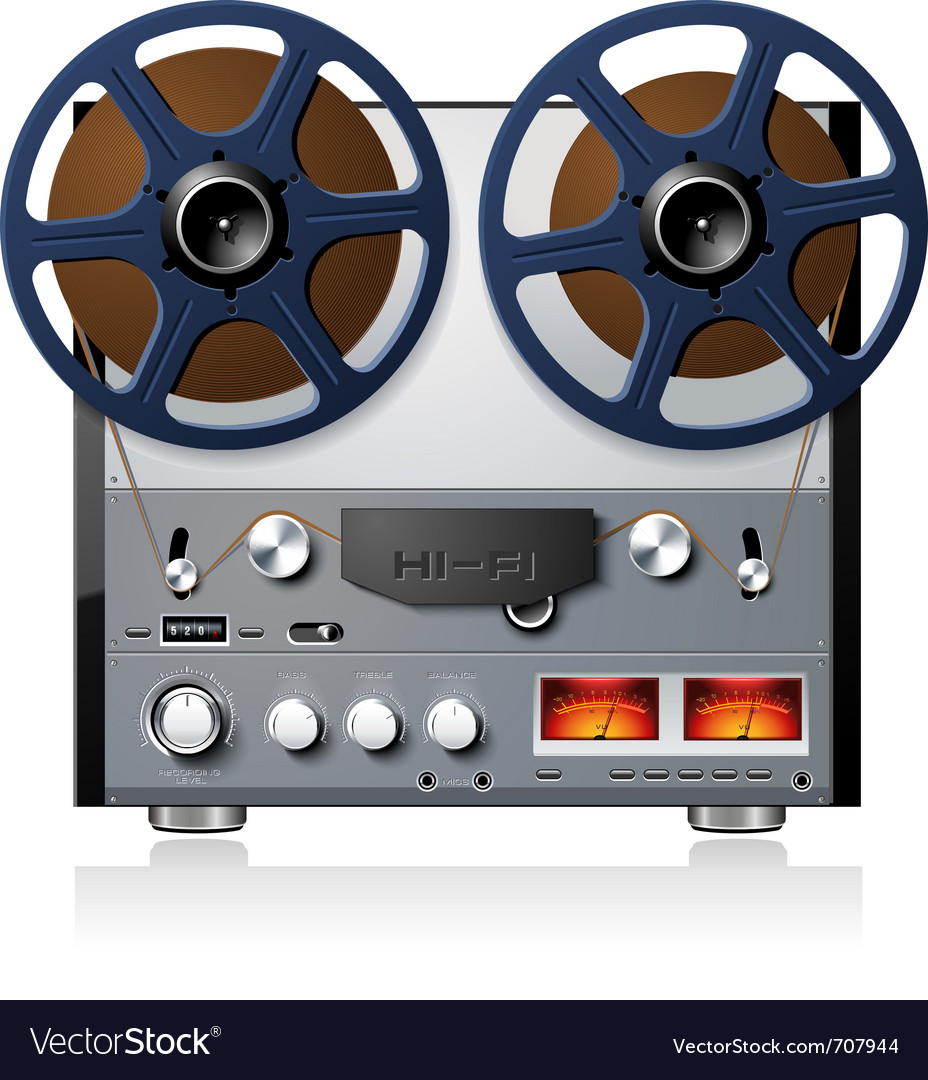 Analog stereo reel to reel tape deck vector | Price: 3 Credit (USD $3)