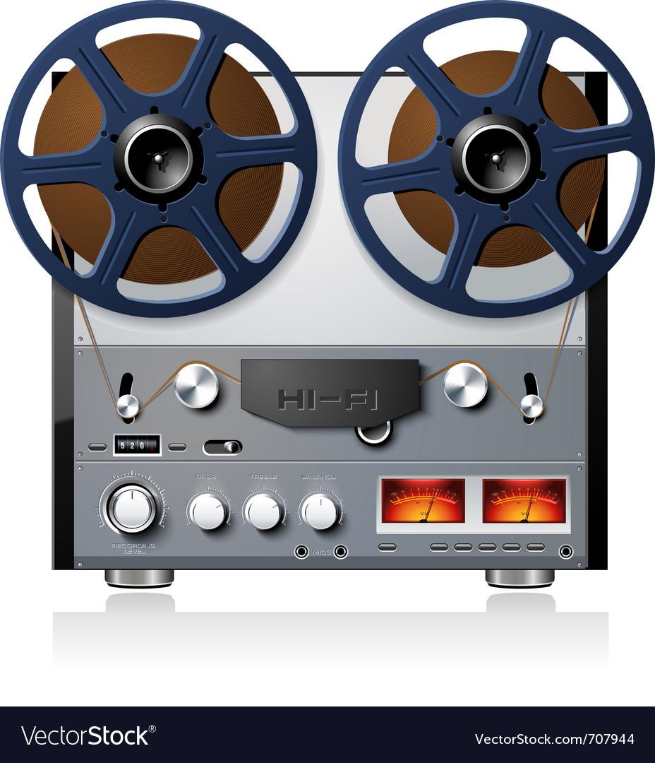 Analog stereo reel to reel tape deck vector