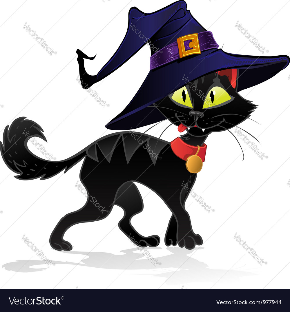 Black terrible withc halloween cat vector | Price: 3 Credit (USD $3)