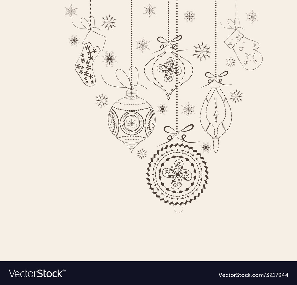 Christmas ornaments doodles vector | Price: 1 Credit (USD $1)