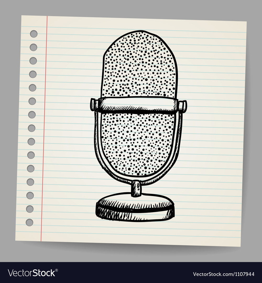 Doodle retro microphone vector | Price: 1 Credit (USD $1)
