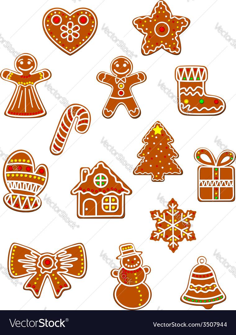 Gingerbread christmas figures set vector | Price: 1 Credit (USD $1)