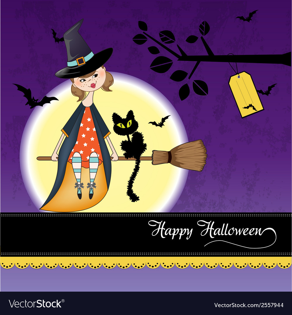 Halloween witch background vector | Price: 1 Credit (USD $1)