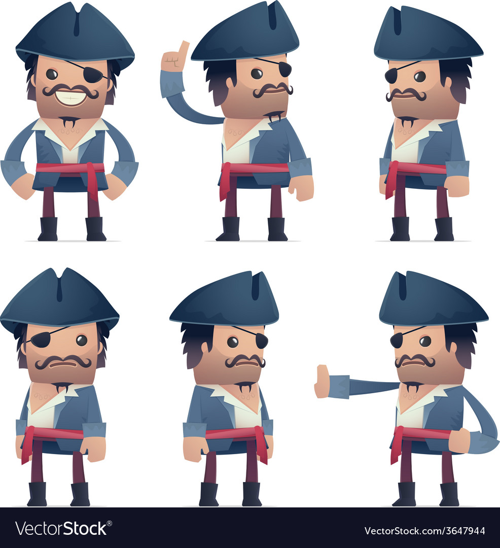 Set of pirate character in different poses vector | Price: 1 Credit (USD $1)