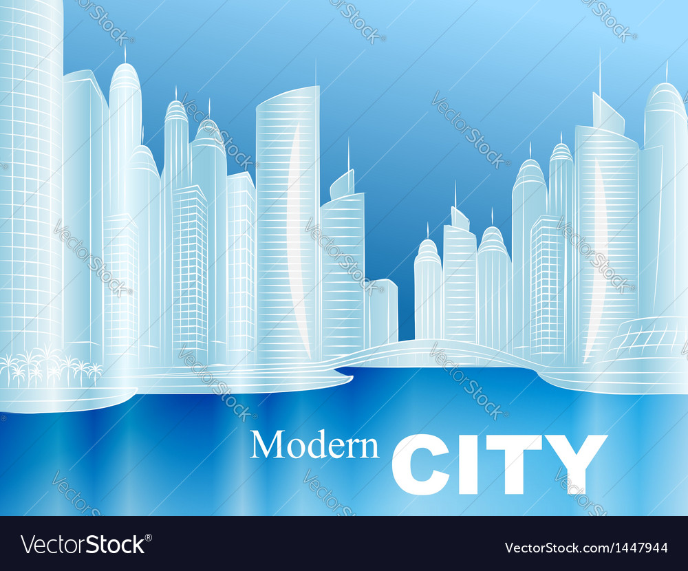 Sketch of a modern city vector   Price: 1 Credit (USD $1)