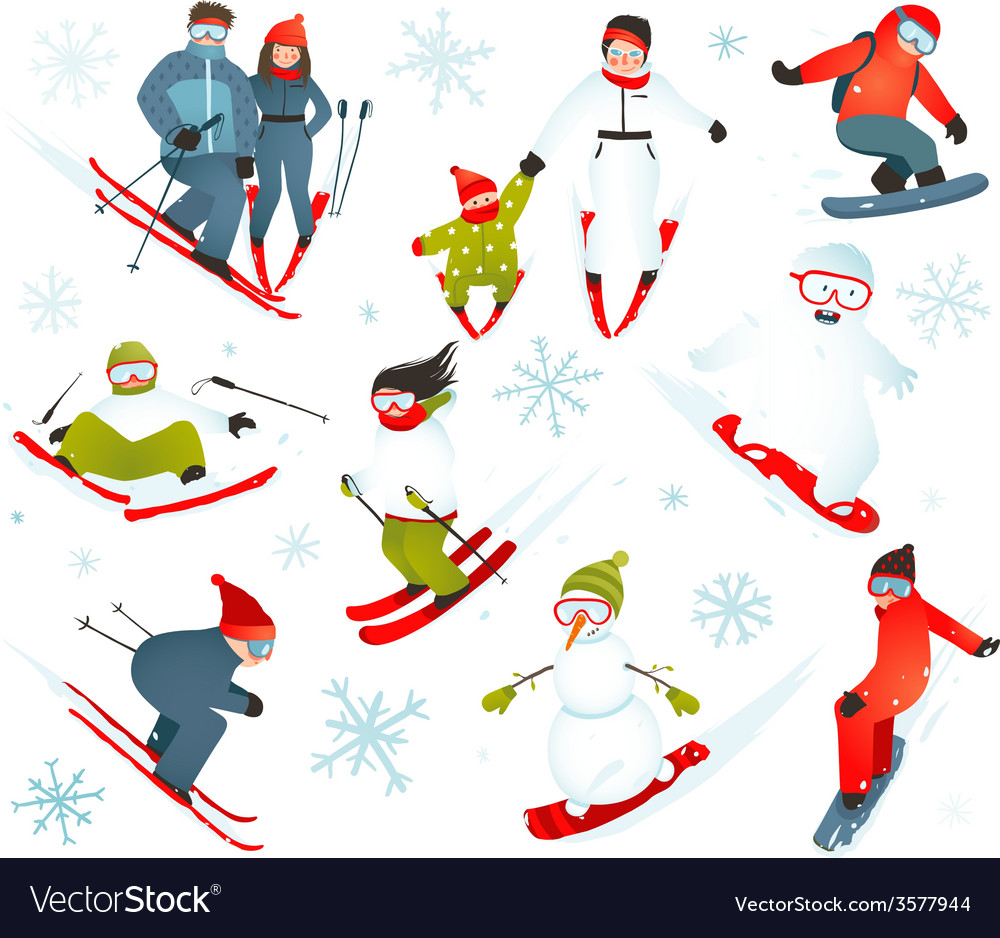 Skier snowboarder snowflakes winter sport vector | Price: 1 Credit (USD $1)