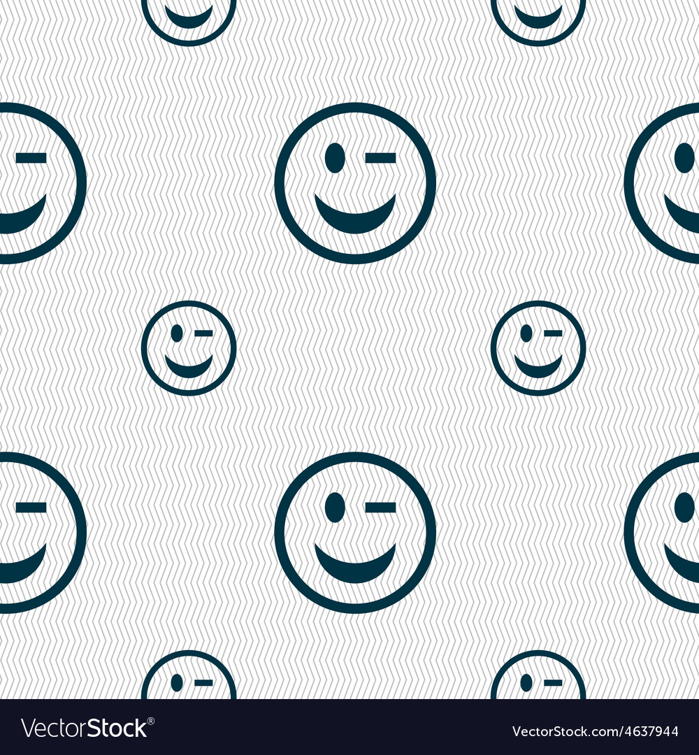 Winking face icon sign seamless pattern with vector | Price: 1 Credit (USD $1)