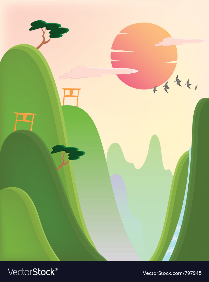 Asian landscape vector | Price: 3 Credit (USD $3)