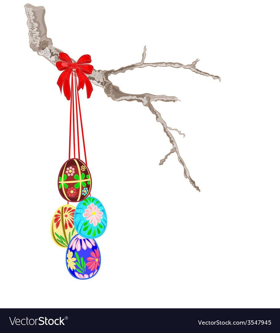 Easter eggs and a birch twig vector | Price: 1 Credit (USD $1)