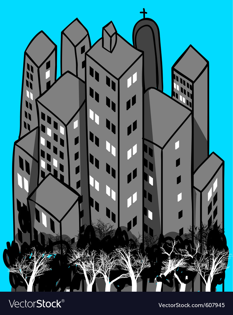 Group of buildings and trees vector | Price: 1 Credit (USD $1)