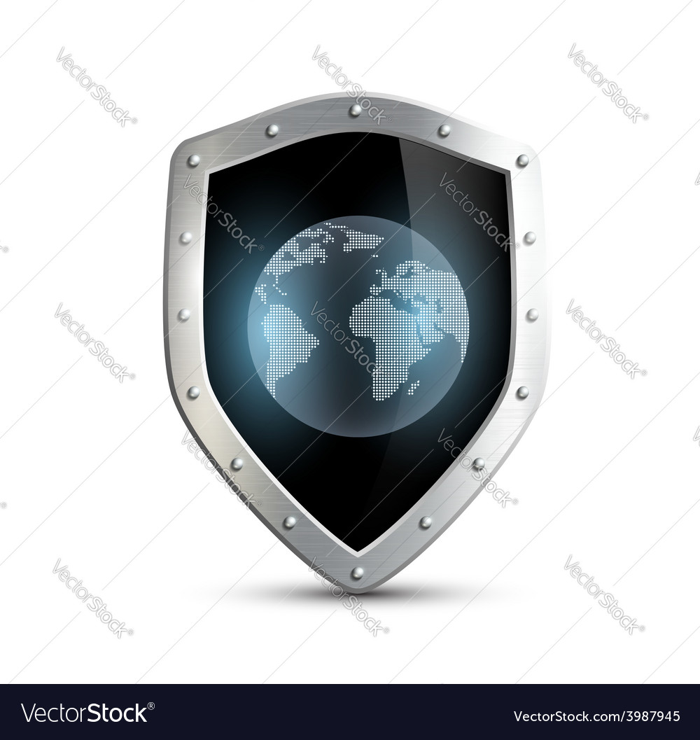 Metal shield with the image of planet earth vector | Price: 1 Credit (USD $1)