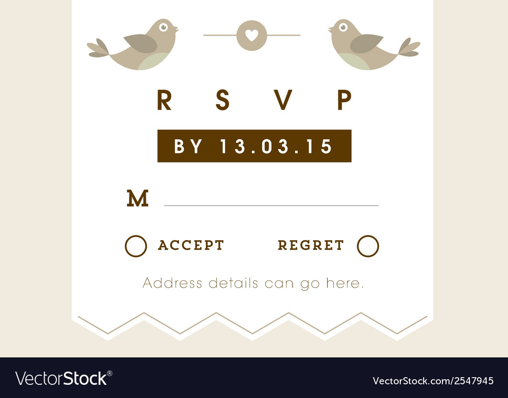 Rsvp wedding card gold love bird theme vector | Price: 1 Credit (USD $1)