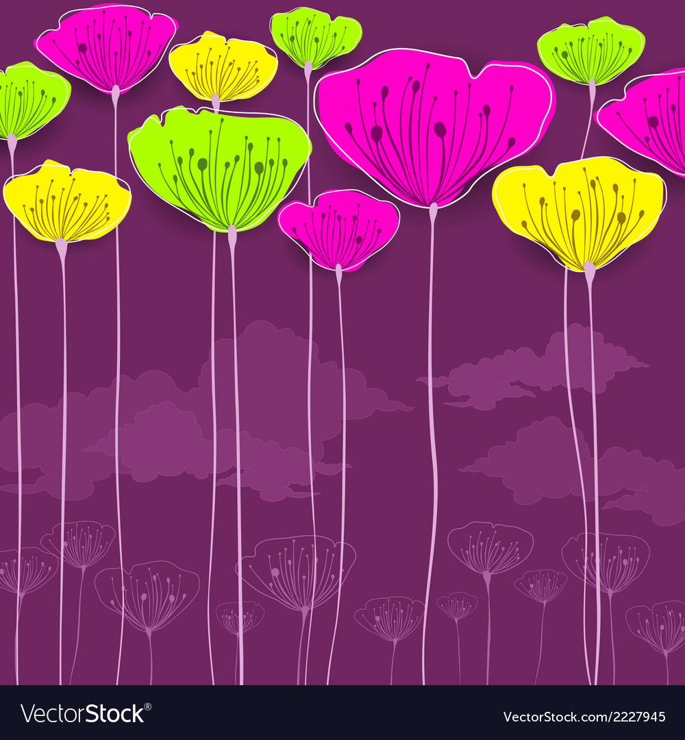 Stylized flowers card vector | Price: 1 Credit (USD $1)
