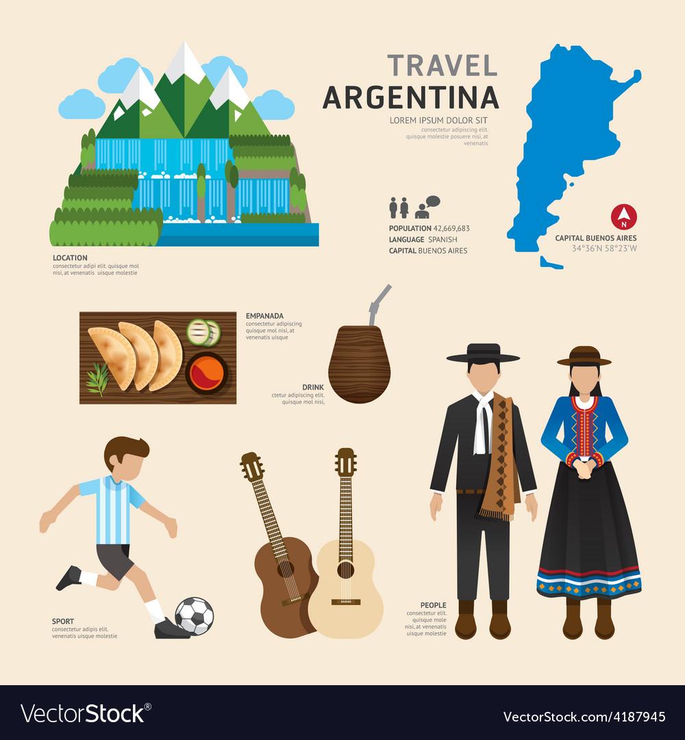 Travel concept argentina landmark flat icons vector   Price: 1 Credit (USD $1)