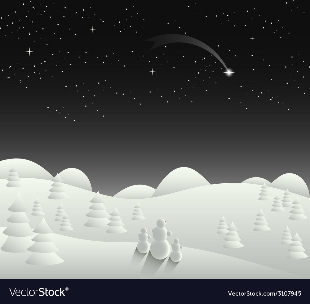 Winter christmas card landscape with falling star vector   Price: 1 Credit (USD $1)