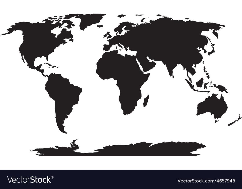 World map black silhouette vector   Price: 1 Credit (USD $1)