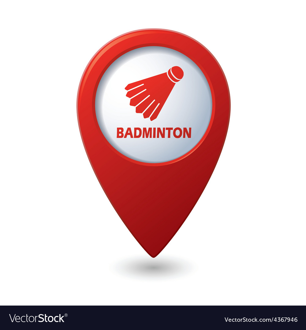 Badminton red pointer vector | Price: 1 Credit (USD $1)