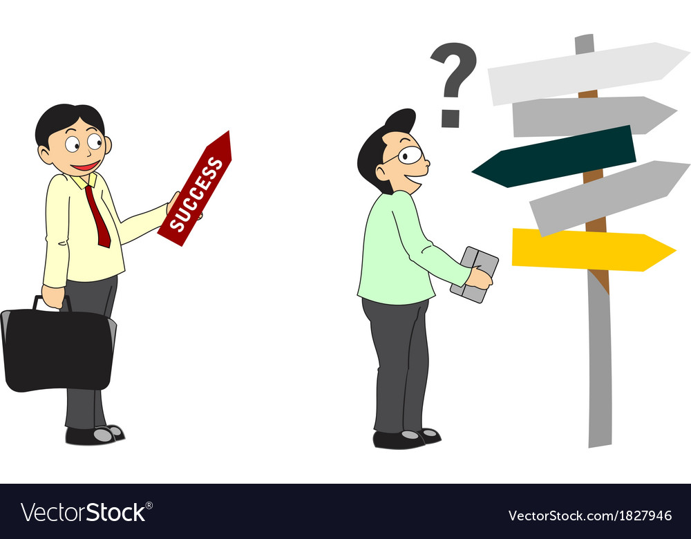Cartoon businessman showing direction to success vector   Price: 1 Credit (USD $1)