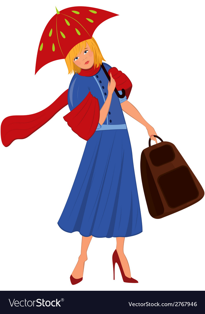 Cartoon woman in blue coat with red umbrella vector | Price: 1 Credit (USD $1)