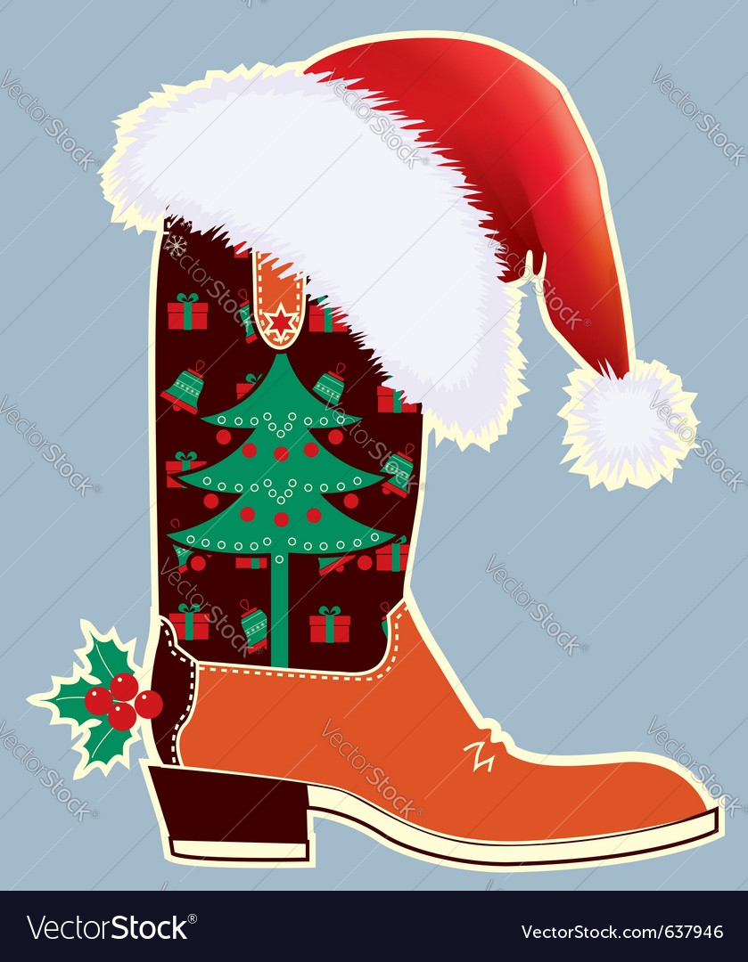 Cowboy christmas card vector