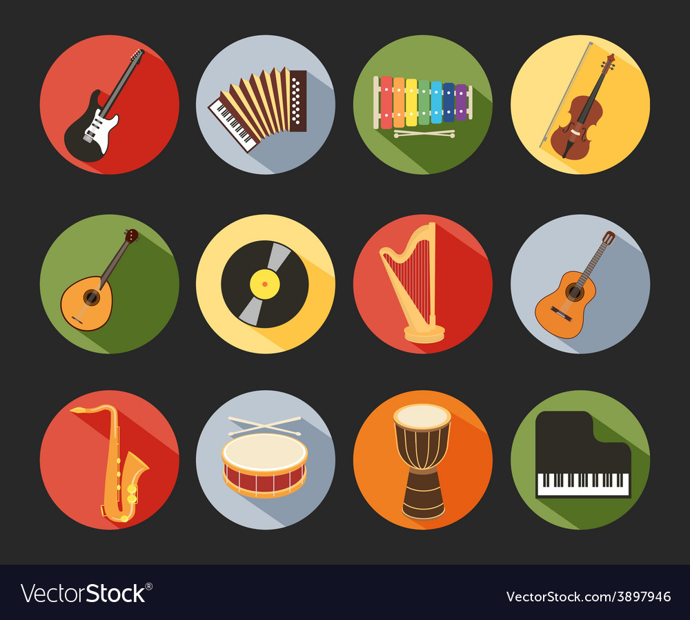 Flat musical icons vector | Price: 1 Credit (USD $1)