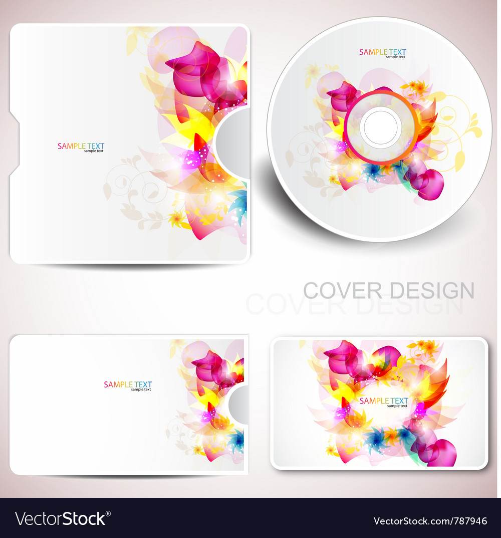 Floral cd disc cover template vector | Price: 1 Credit (USD $1)