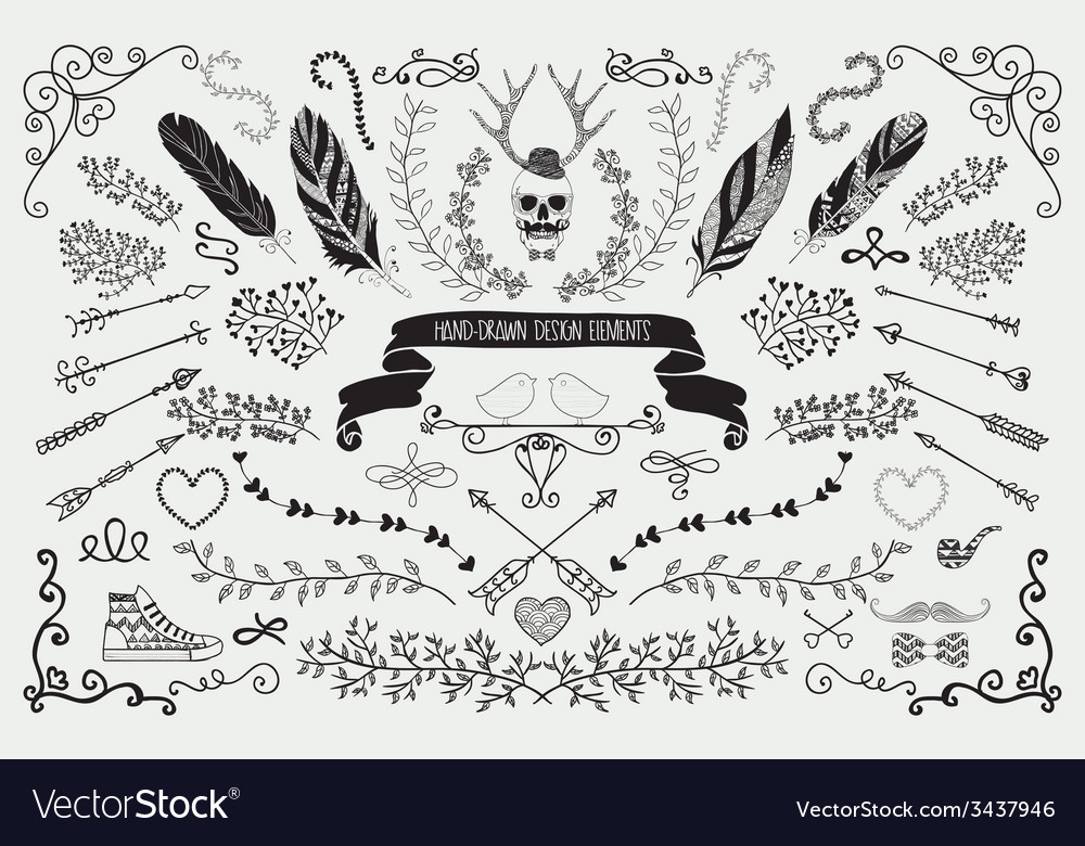 Hand-drawn floral design elements vector | Price: 1 Credit (USD $1)