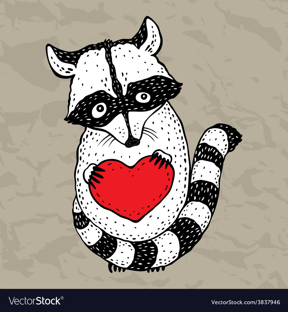 Raccoon carrying a heart vector | Price: 1 Credit (USD $1)