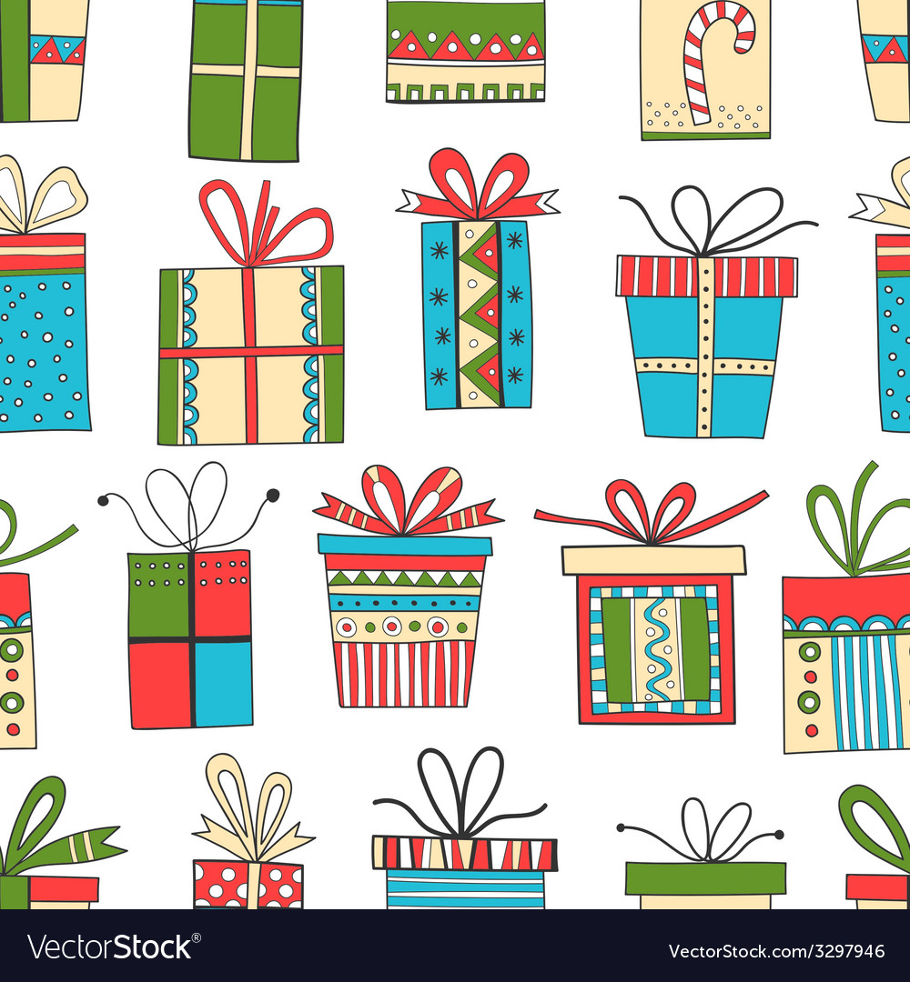 Seamless pattern of gift packages christmas gifts vector | Price: 1 Credit (USD $1)